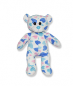 Blue and Pink Heart Plush Animal - 8 Inch