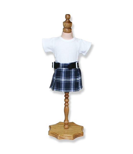 Navy and Grey Tartan Outfit - Fits 18 inch Doll