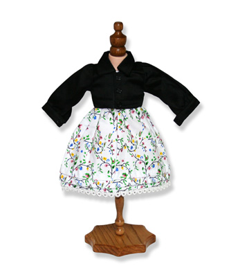 Sleeveless Empire Waist Doll Dress and Jacket - Fits 18 inch Doll