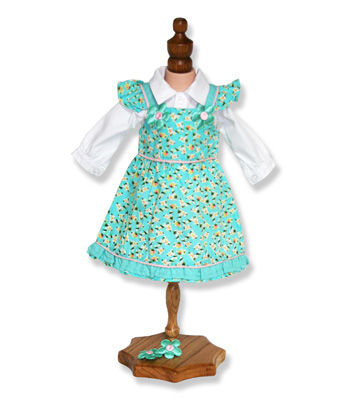 Floral Green Doll Dress with Shirt - Fits 18 inch Doll