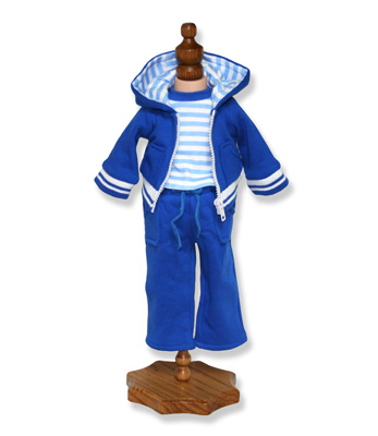 Blue Jogging Suit with Stripe Accents - Fits 18 inch Doll