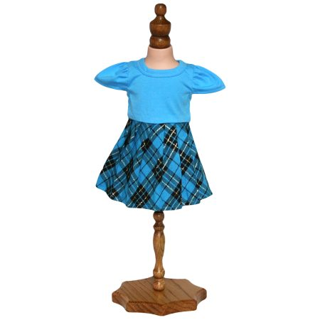 Tartan Skirt and Blue Top - Fits 18 inch Doll