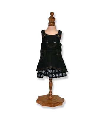Black Denim Dress with Floral Trim - Fits 18 inch Doll