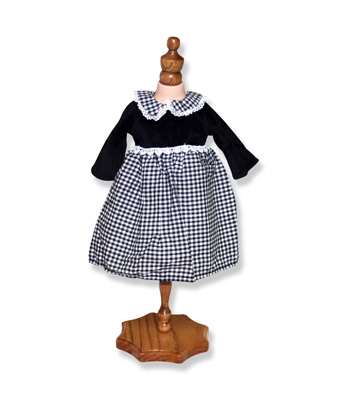 Black and White Gingham Doll Dress - Fits 18 inch Doll