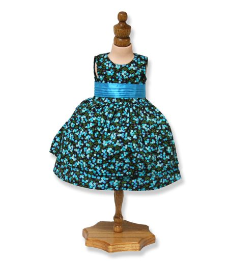 Blue Floral Party Dress - Fits 18 inch Doll