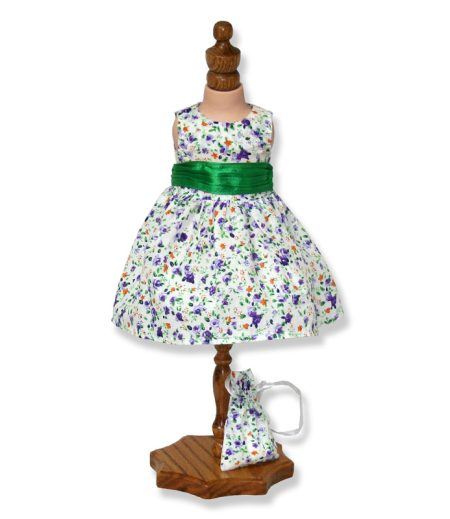 Green Floral Party Dress - Fits 18 inch Doll