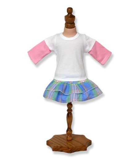 Two Tone Doll Top Plaid Skirt - Fits 18 inch Doll