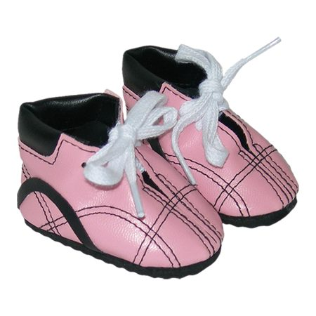 Pink and Black Doll Tennis Shoes - Fits 18 inch Doll