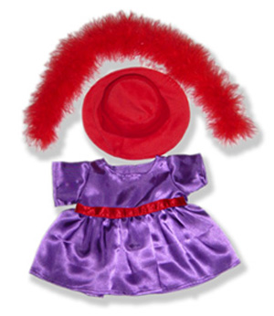 Red Hat Purple Dress - Fits 15 Inch Plush Animal