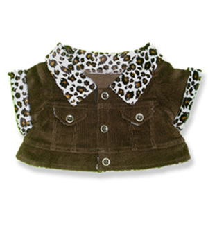 Brown Cord Jacket with Leopard Trim - Fits 15 Inch Plush Animal