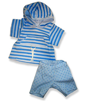 Blue Stripe Top and Leggings - Fits 15 Inch Plush Animal