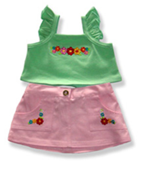 Green Top Pink Skirt - Fits 15 Inch Plush Animal