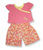 Peach Top With Floral Pants - Fits 15 Inch Plush Animal