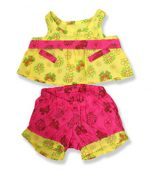 Yellow Pink Floral Outfit - Fits 15 Inch Plush Animal