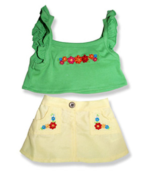 Green Top Yellow Skirt - Fits 15 Inch Plush Animal