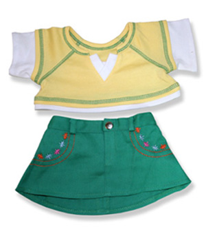 Yellow Top Green Skirt - Fits 15 Inch Plush Animal