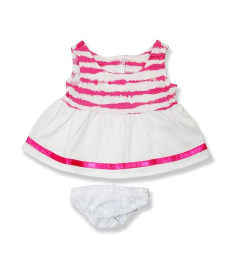 White and Pink Stripe Dress Pink - Fits 15 Inch Plush Animal
