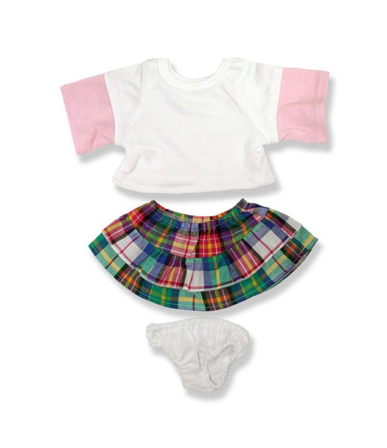 Plaid Skirt and Pink Sleeve Top - Fits 15 Inch Plush Animal
