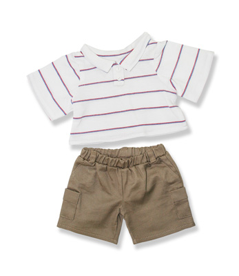 Stripe Top Beige Pants - Fits 15 Inch Plush Animal