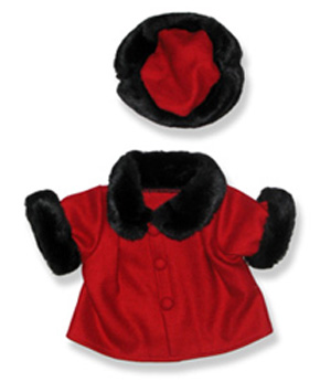 Red Velvet Coat and Hat - Fits 15 Inch Plush Animal